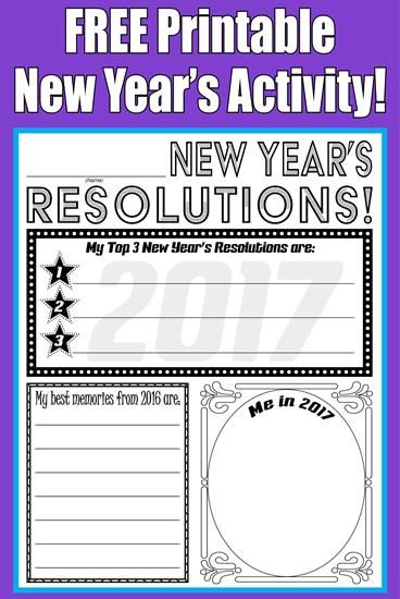 Free Printable 2018 New Year S Resolution Activity New