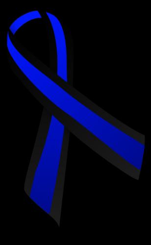 blue and black awareness ribbon for concern of police survivors cops support law enforcement and ocular melanoma choroidal melanomauveal melanoma
