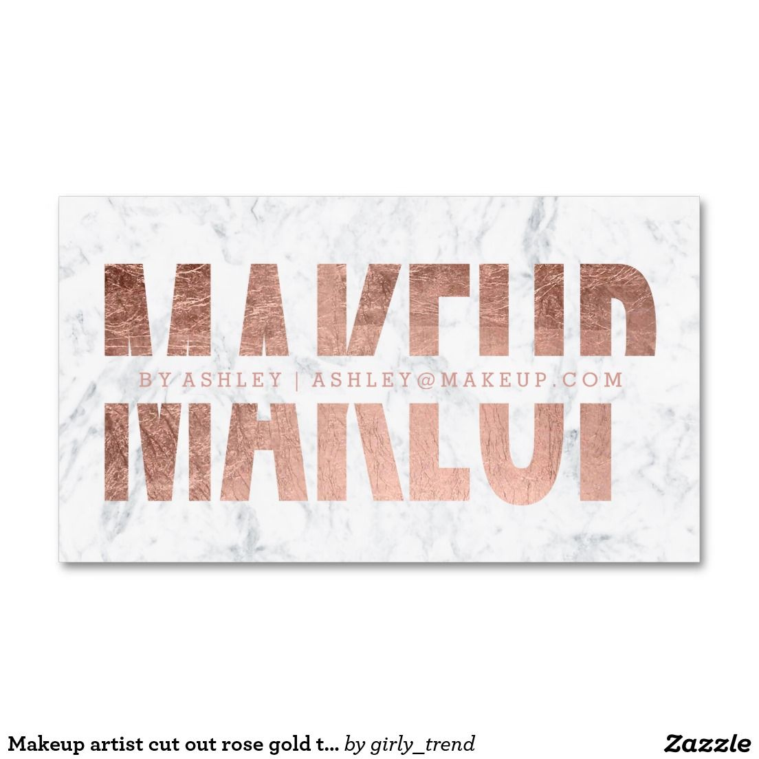 Makeup artist cut out rose gold typography marble business card ...