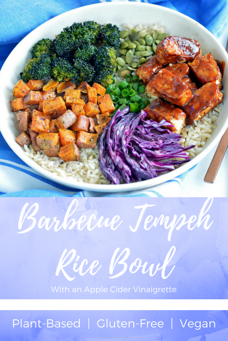 Barbecue Tempeh Rice Bowl With Apple Cider Vinaigrette