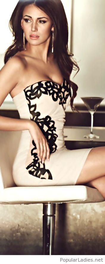 Lady like dress on white with black lace