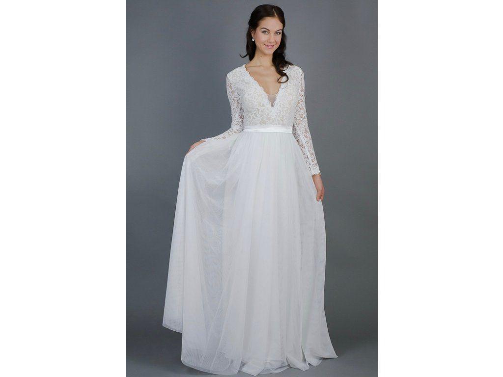 Splývavé svatební šaty s rukávy. lehounké splývavé svatební šaty krajkový  živůtek a rukávy zdobené bordurou 75517a23e4