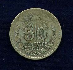 1921 50 centavos vieja moneda mexicana de plata