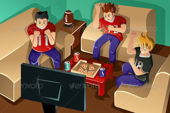 Young People Watching American Football Adult Cartoon Clip
