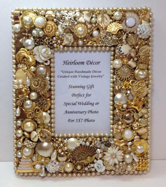 Gold Jeweled Frame For 5x7 Photo Is Lavishly Embellished With
