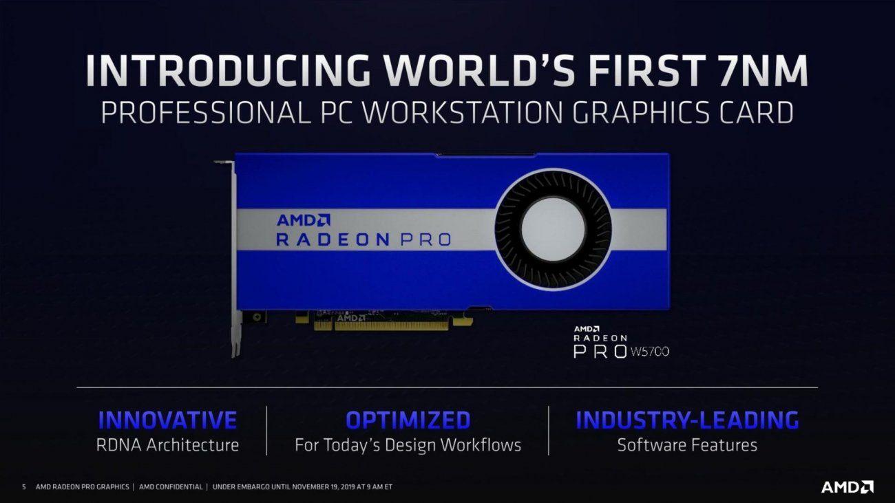 Amd Radeon Pro W5700 Workstation Navi 8gb Gddr6 9 Tflops For 799 Amd Workstation Graphic Card