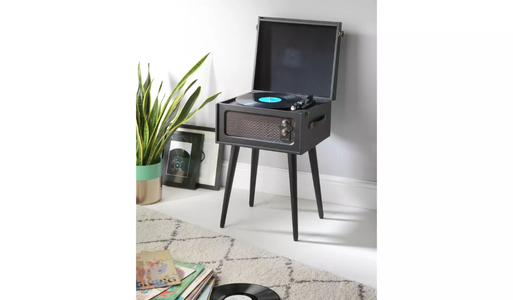 Black Bush Wooden Turntable with Legs