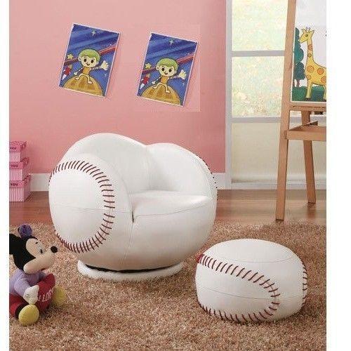 Chair Ottoman Set Kids Room Baseball Sports Furniture Game Room ...