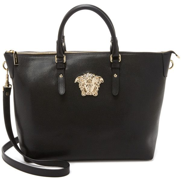 Versace Leather Tote ($1,505) ❤ liked on Polyvore featuring bags, handbags, tote bags, zip top leather tote, leather purse, genuine leather handbags, tote handbags and handbags totes