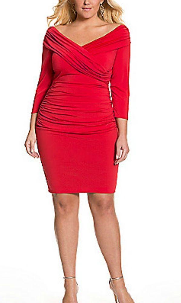 Lane Bryant Women S Dress Red Sz 14 Control Tech Slimming Portrait Neck Bodycon Lanebryant Controltechslimmi Plus Size Dresses Valentines Day Dresses Dresses