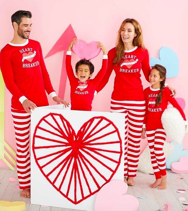 personalized family matching valentines day heart breaker pajamas - Valentines Day Pajamas