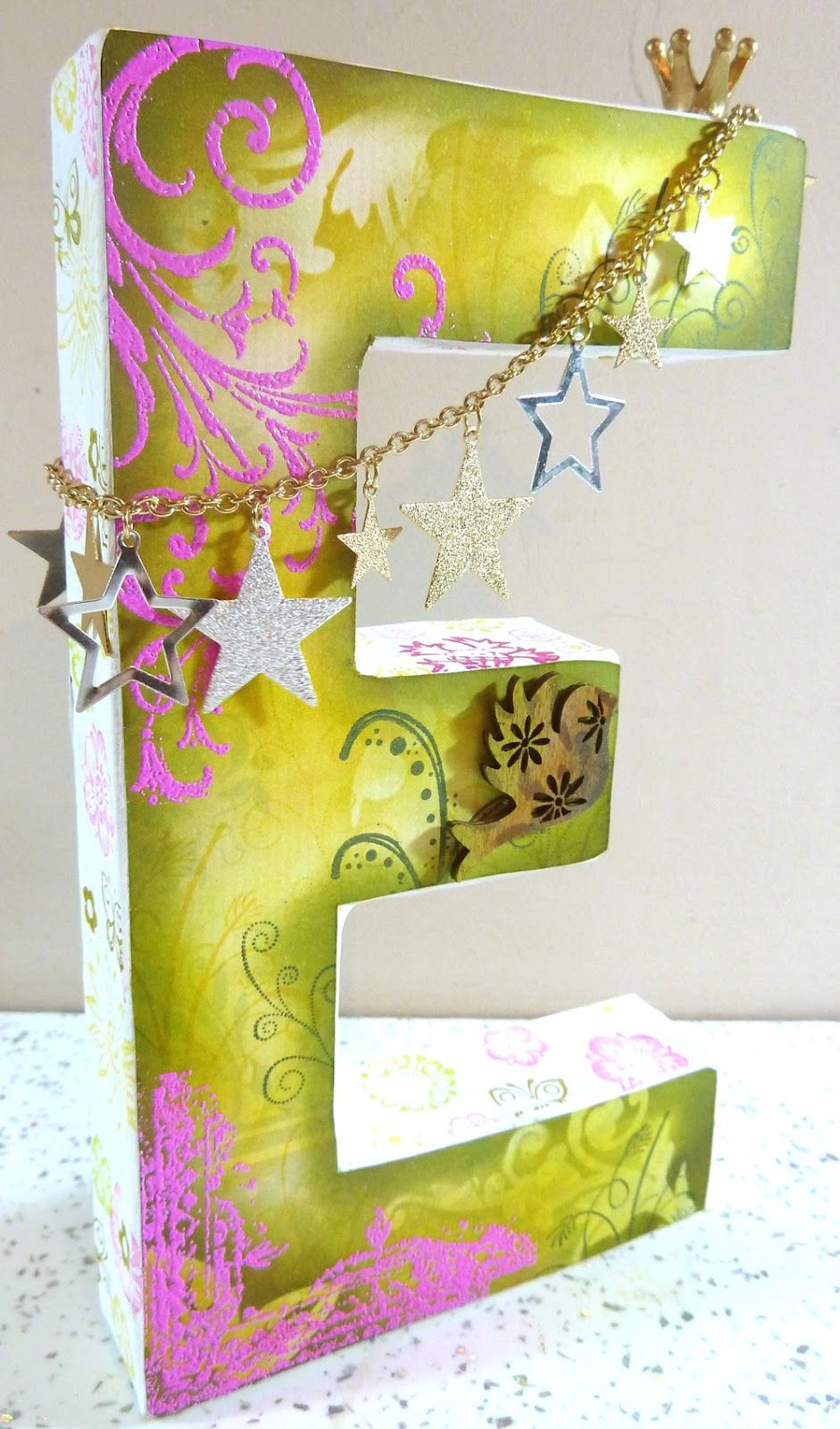 Michelle Webb The Hobby Room UK Altered Decopatch letter E is for ...