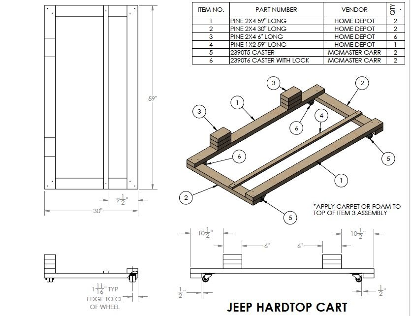 Hard Top Cart Plans Jeep Tops Jeep Wrangler Doors Diy Jeep