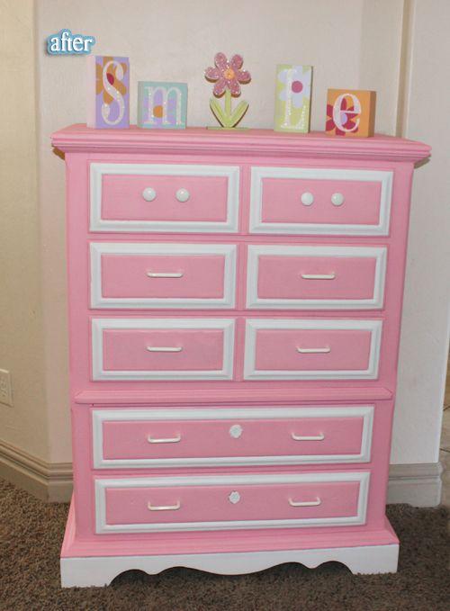 Pink White Dresser Redo Marley Girl Dresser Redo Furniture