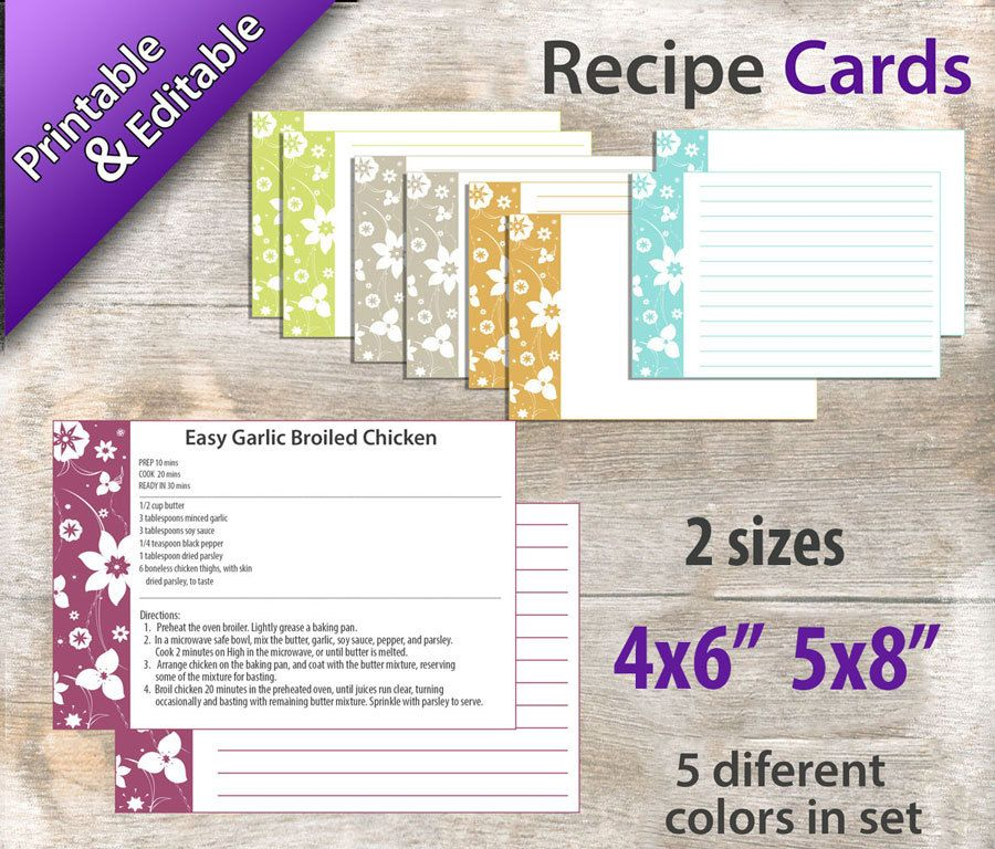 Popular Items For Printable Template On Etsy Recipe Cards Template Recipe Cards Printable Recipe Cards