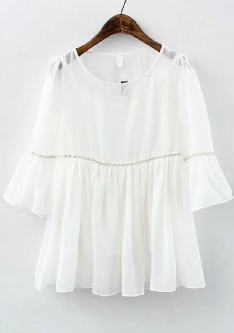 76141c290c Ruffle Sleeve Chiffon White Top | Clothes I Love | Fashion, Fashion ...