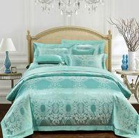 Aqua 녹색 침구 세트 럭셔리 여자 자카드 침대보 새틴 이불 커버 시트 침대 가방 린넨 퍼지는 킹 퀸 사이즈 4 개