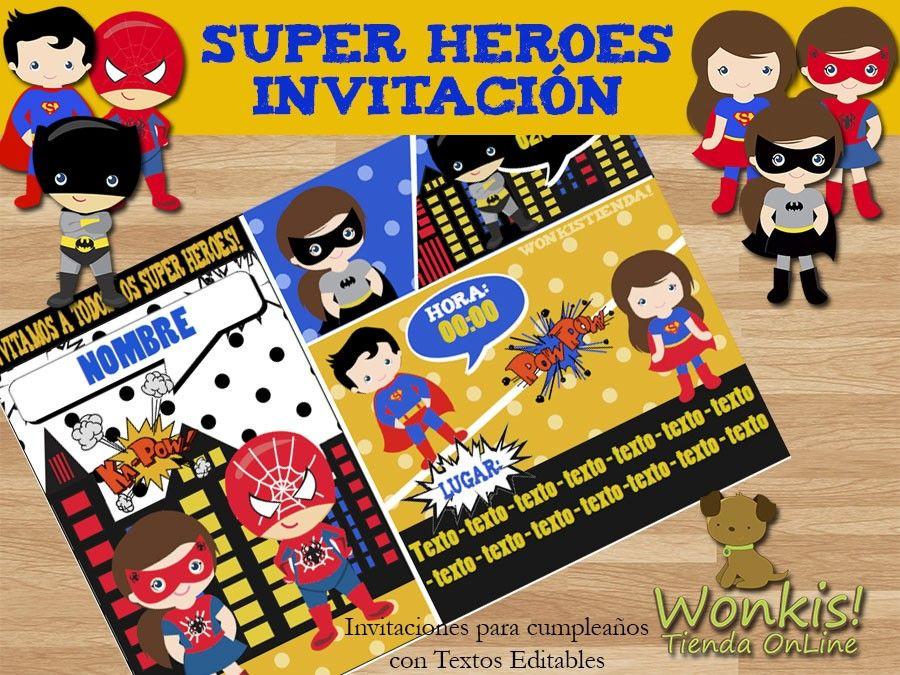 Super Heroes Invitación Textos Editables Invitaciones De
