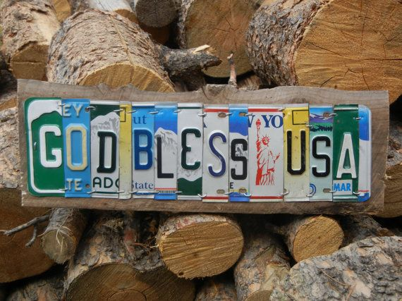 God Bless Usa License Plate Art Sign By Redheadrubbish On Etsy