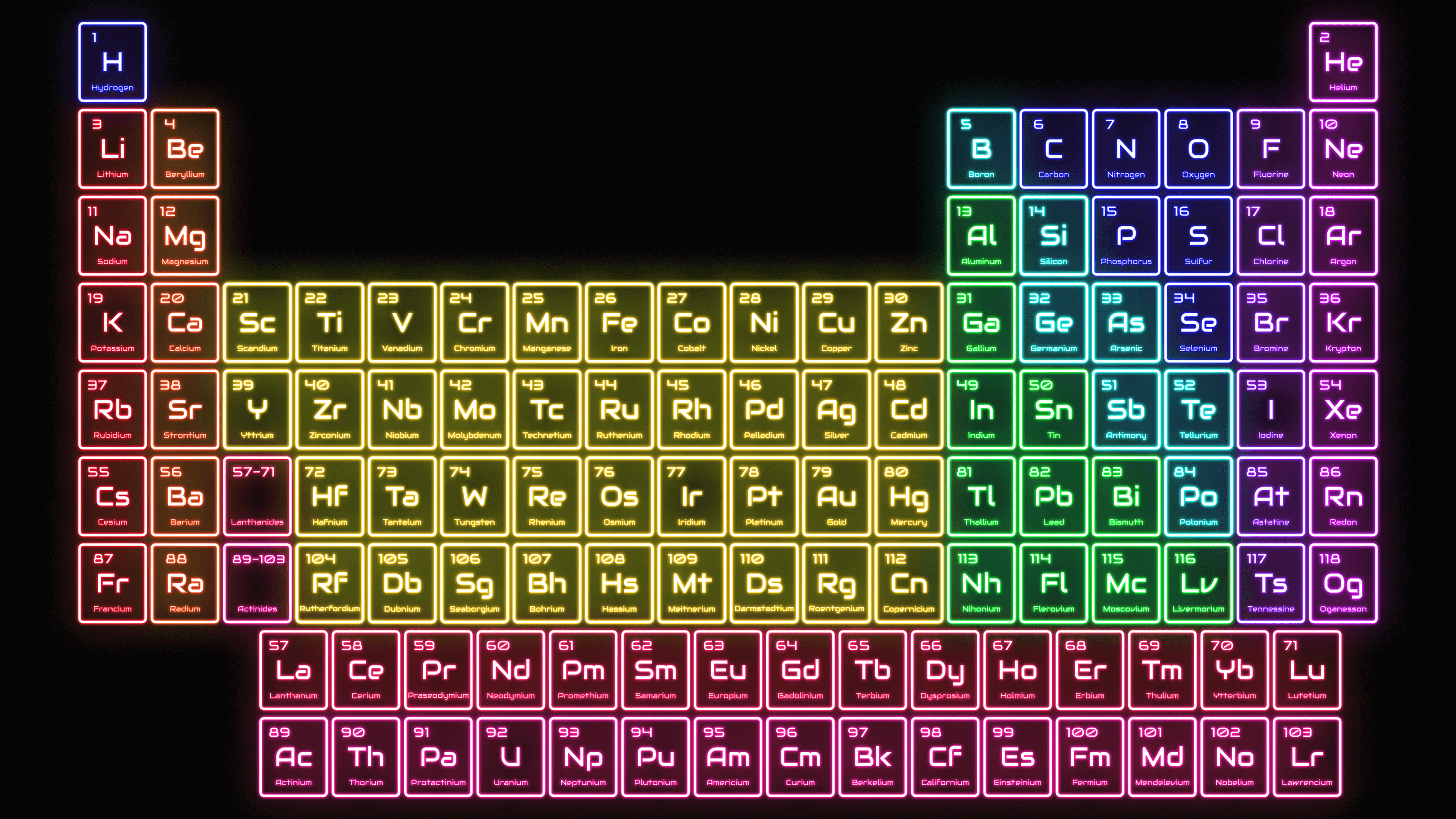 This colorful neon lights periodic table wallpaper shines