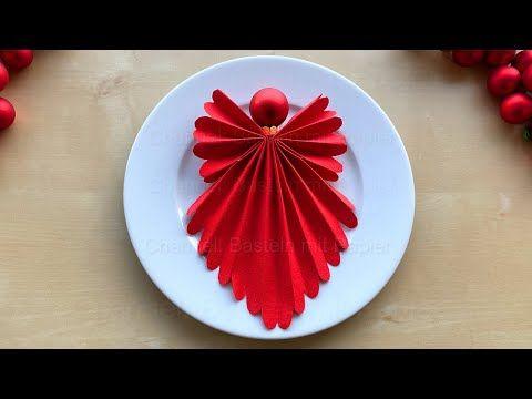 Servietten falten Weihnachten - Engel basteln mit Papier-Servietten - Weihnachtsdeko selber machen