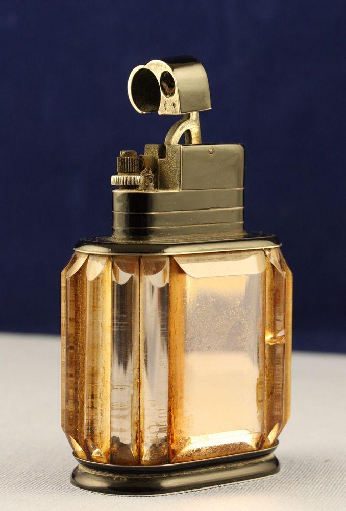 Fabulous French Art Deco Cartier Petrol Desk Lighter Silver Enamel Rock Crystal