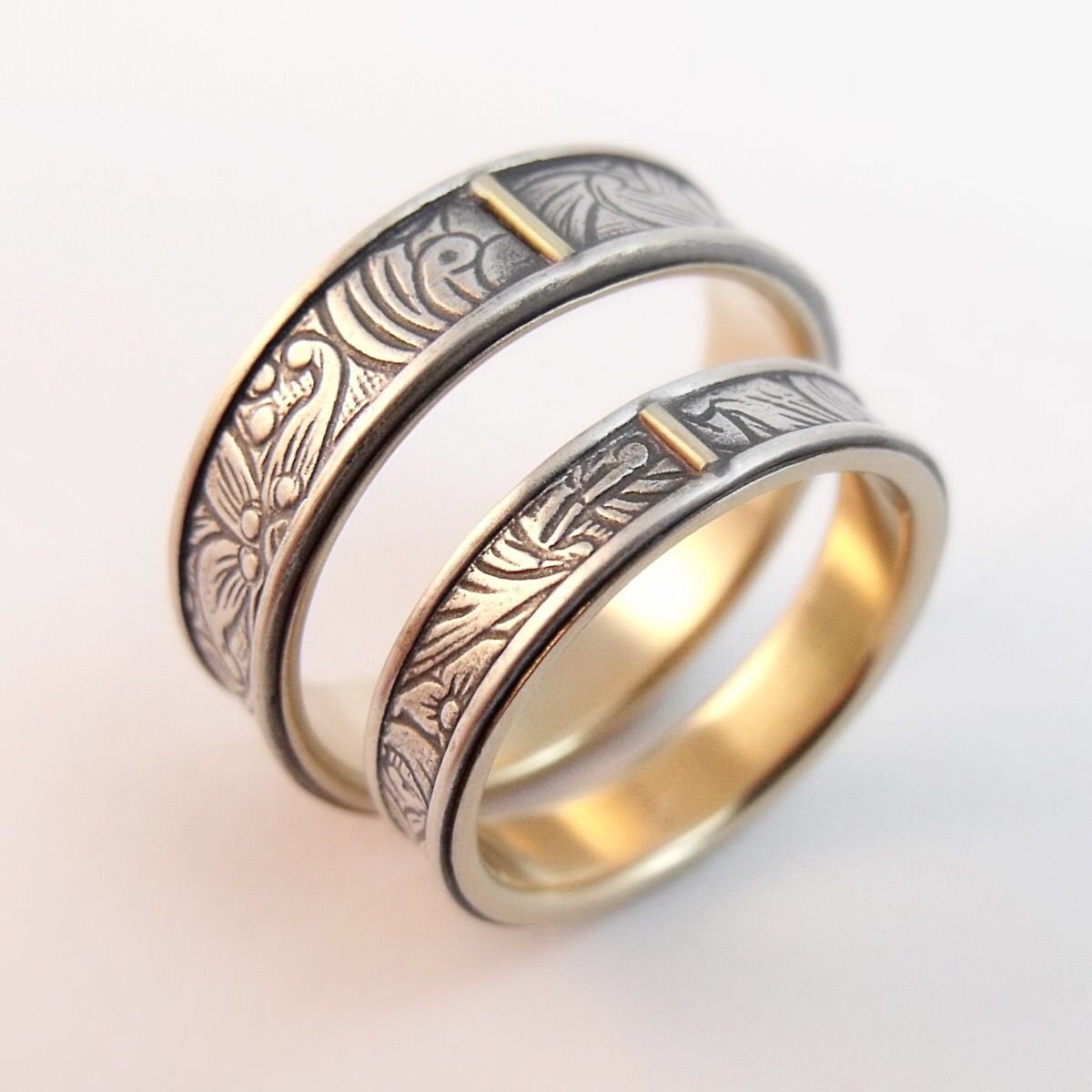 Sunflower wedding band set. Sterling silver inlay rings