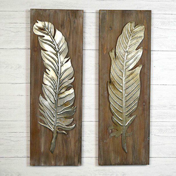 Wood And Metal Feather Wall Sculpture Set Of 2 Tin Wall Art Tin Wall Decor Feather Wall Art