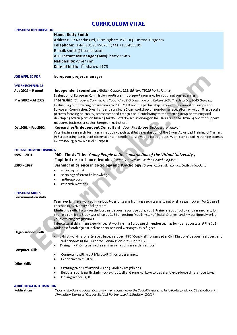 How to write a successful cv worksheet cv words