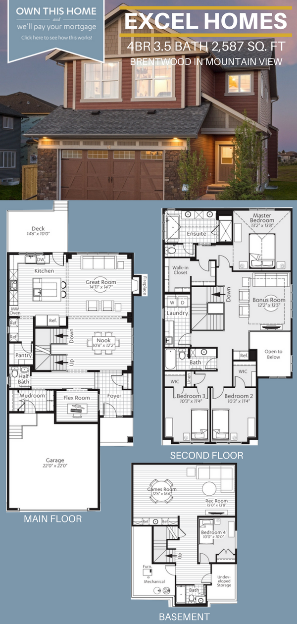 Three Story Floorplan 4 Bedroom 3 5 Bathoom Home House Ideas House Inspiration Brentwood By Excel House Layout Plans House Blueprints Dream House Plans