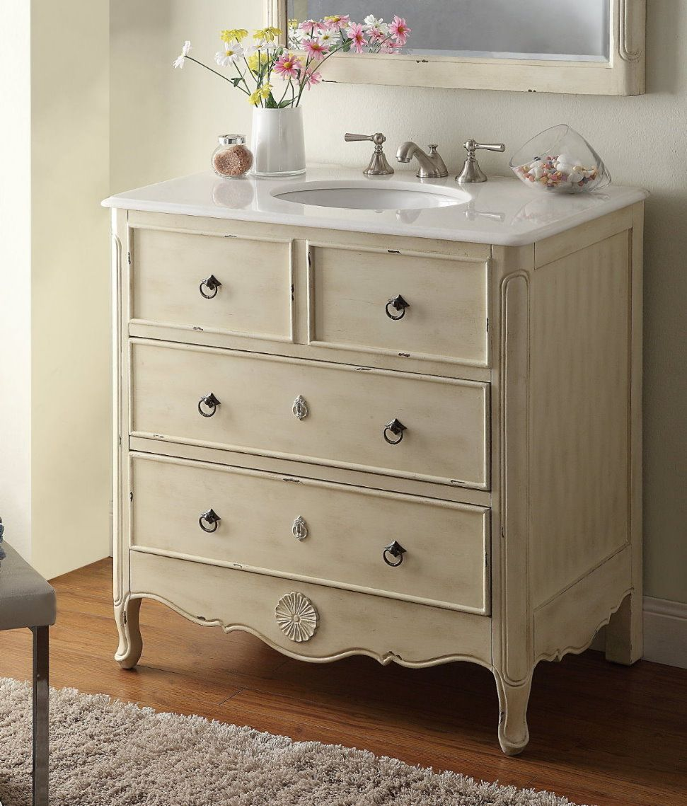 34 Inch Bathroom Vanity Cottage Beach Style Vintage Cream Color