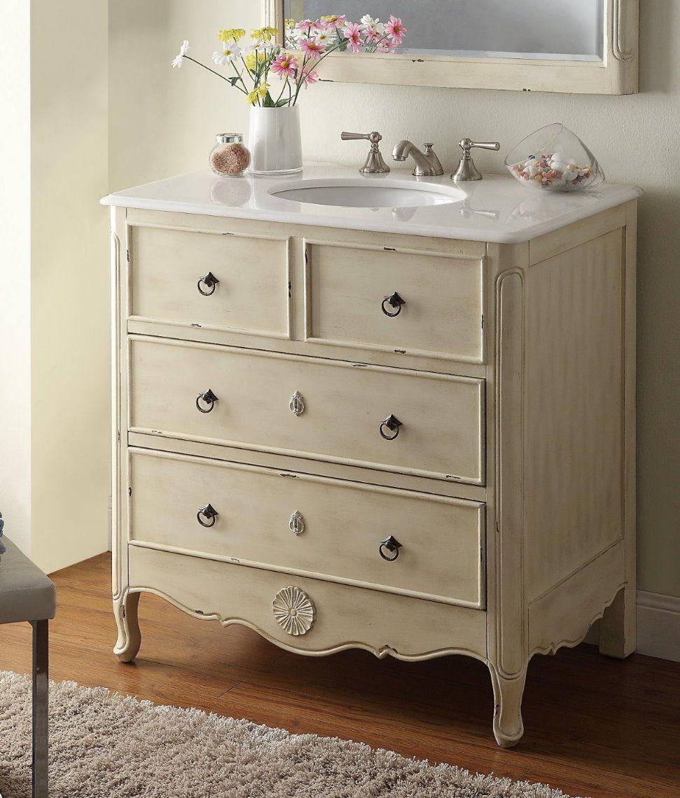 diy distressed bathroom vanity%0A Distressed cream Bathroom Vanity Size   x  x    H