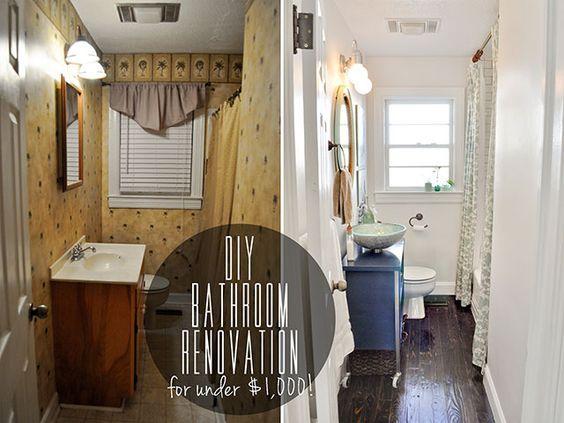 before & after DIY bathroom renovation under $1,000 ...
