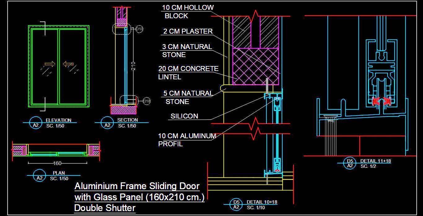 Aluminium Sliding Door Detail Dwg Autocad Drawing Download In 2020 Aluminium Sliding Doors Sliding Doors Sliding Door Design