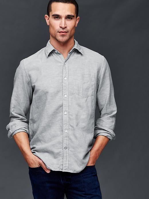 9b71627d7c Linen-cotton yarn dye standard fit shirt | Gap | Men's Fashion ...