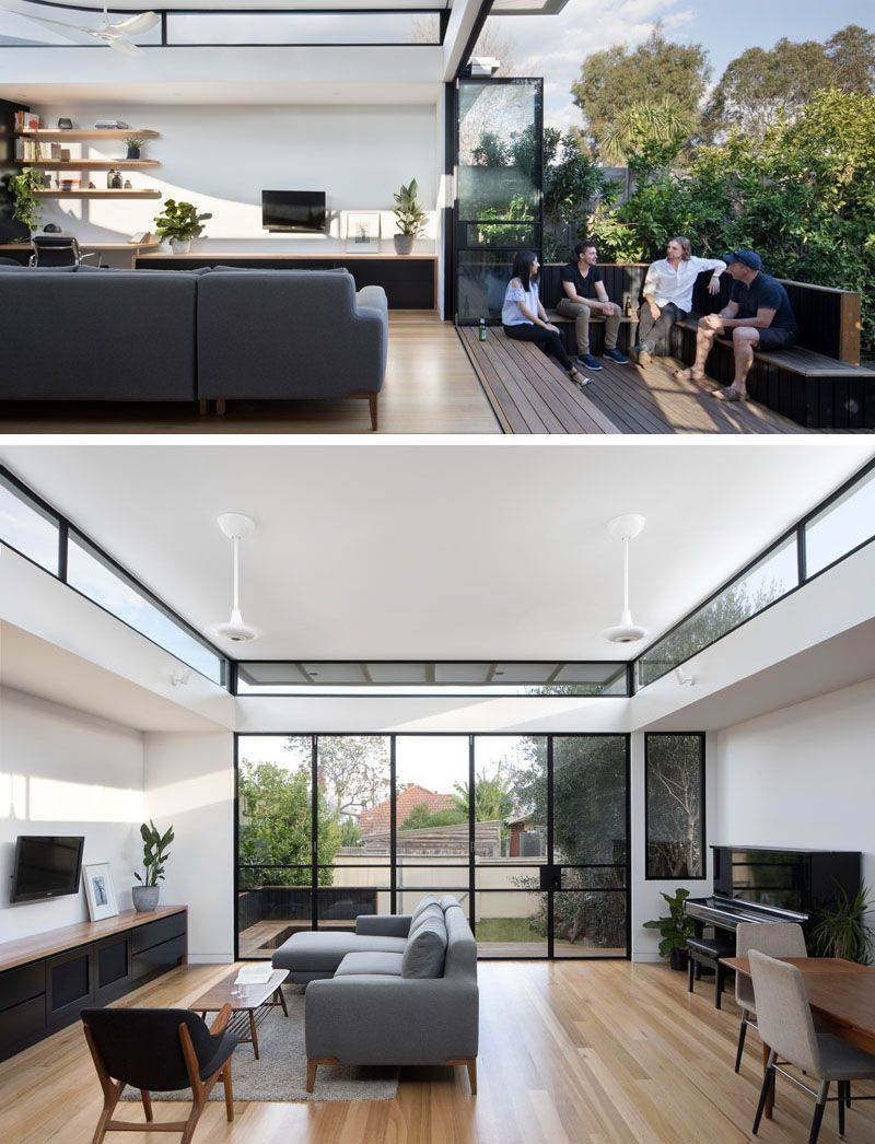 The Roof Of This New Extension Curves Upwards To Provide Sunlight ...