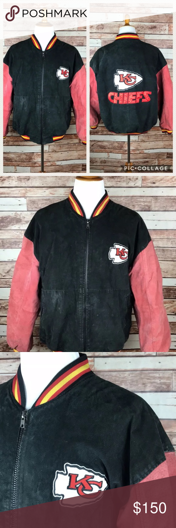 Vintage Kansas City Chiefs Leather Suede Coat L Gameday Outfit Suede Coat Heavy Winter Coat [ 1740 x 580 Pixel ]