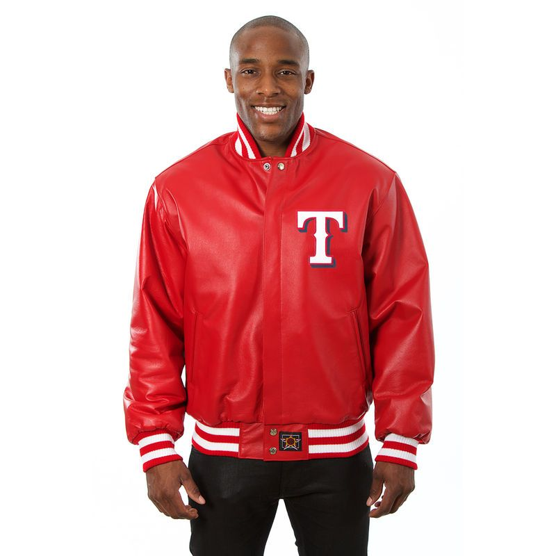 Texas Rangers Jh Design Team Color Leather Jacket Red Jackets Men Fashion Cool Jackets For Men Leather Jacket Men Style