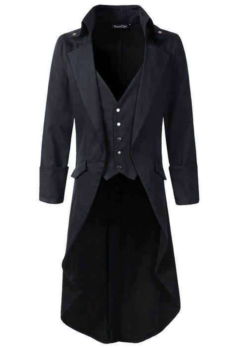 Mens Gothic Tailcoat Jacket Black Steampunk VTG Victorian High Collar Coat (S, Black)