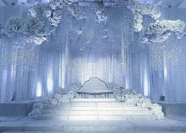 Adoring this silver winter wedding of dreams designed by @glamweddings