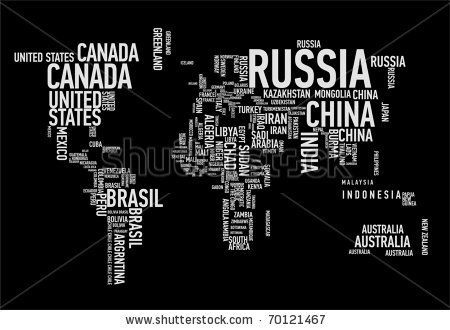 World map countries in wordcloud by Alan Uster via Shutterstock