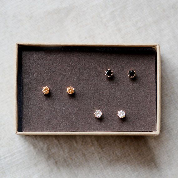 Nova Trio Tiny Gold Stud Earrings By Elephantine This Listing Is For Three Sets Of White Topaz Champagne Cubic Zirconia And Black Spinel