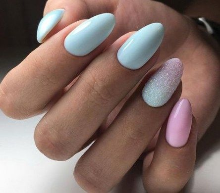 25 ideas cute acrylic nails ombre blue in 2020  short
