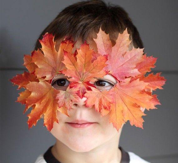 herbst basteln maske rot gefärbte blätter benutzen   Ideen ...