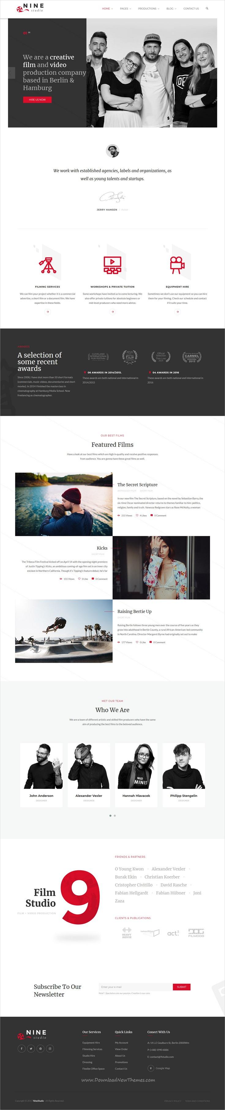 Nine Studio A Film Maker Studio Agency Blogger Html Template Templates Homepage Design Film