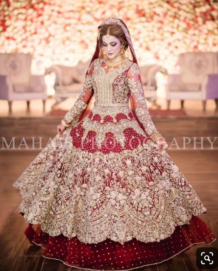 Dulhan Bridal Dress In Beutifull Maronish Red Color Model B 1790