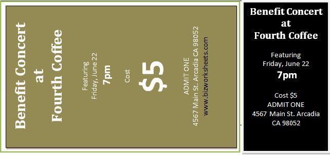Event Ticket Template Download At HttpWwwBizworksheetsCom