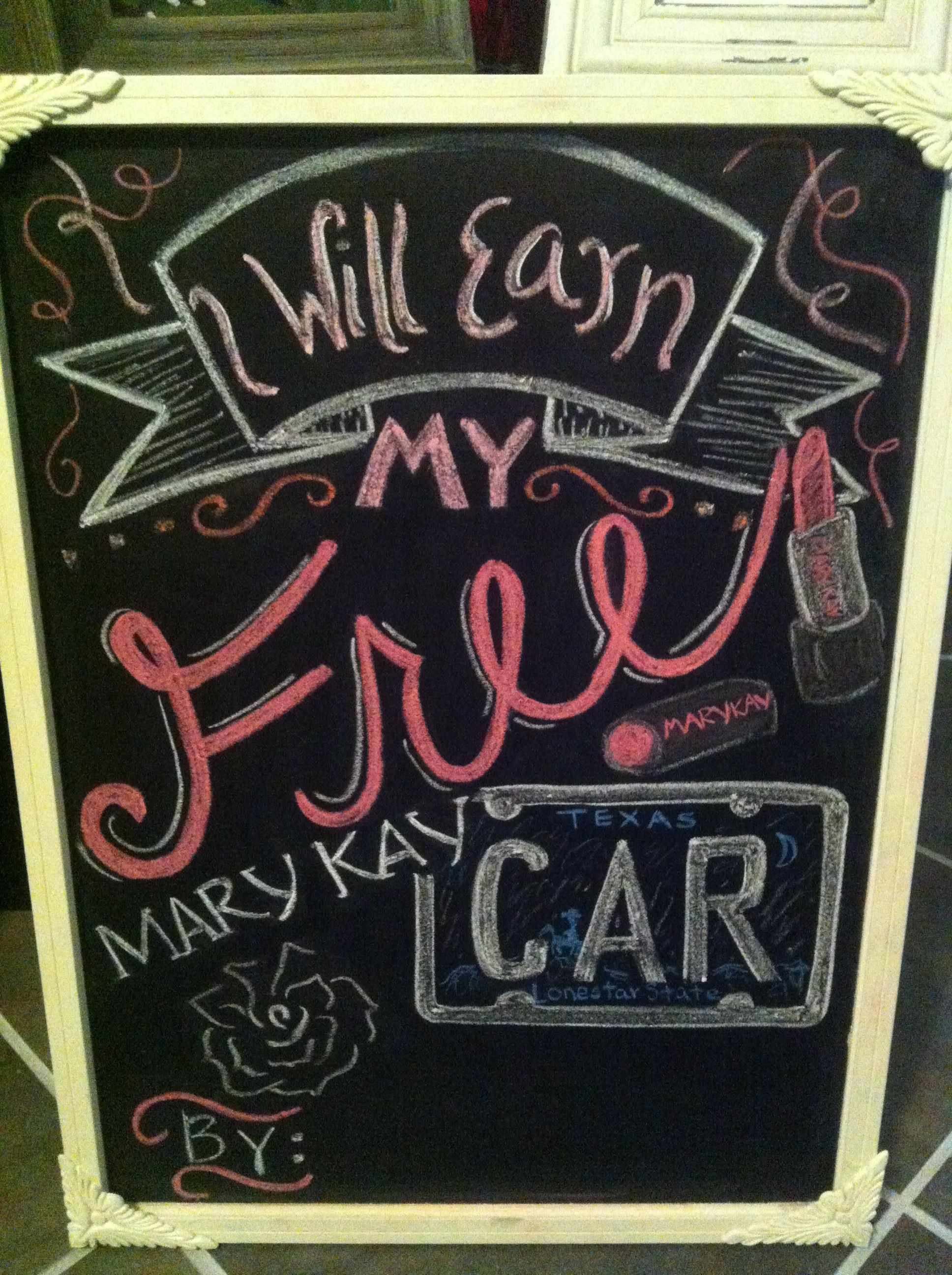 Chalkboard mary kay car party gk with images mary kay