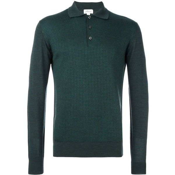 Brioni longsleeved polo shirt (£840) ❤ liked on Polyvore featuring men's fashion, men's clothing, men's shirts, men's polos, green, mens green shirt, mens long sleeve shirts, mens green polo shirt, mens longsleeve shirts and mens long sleeve polo shirts