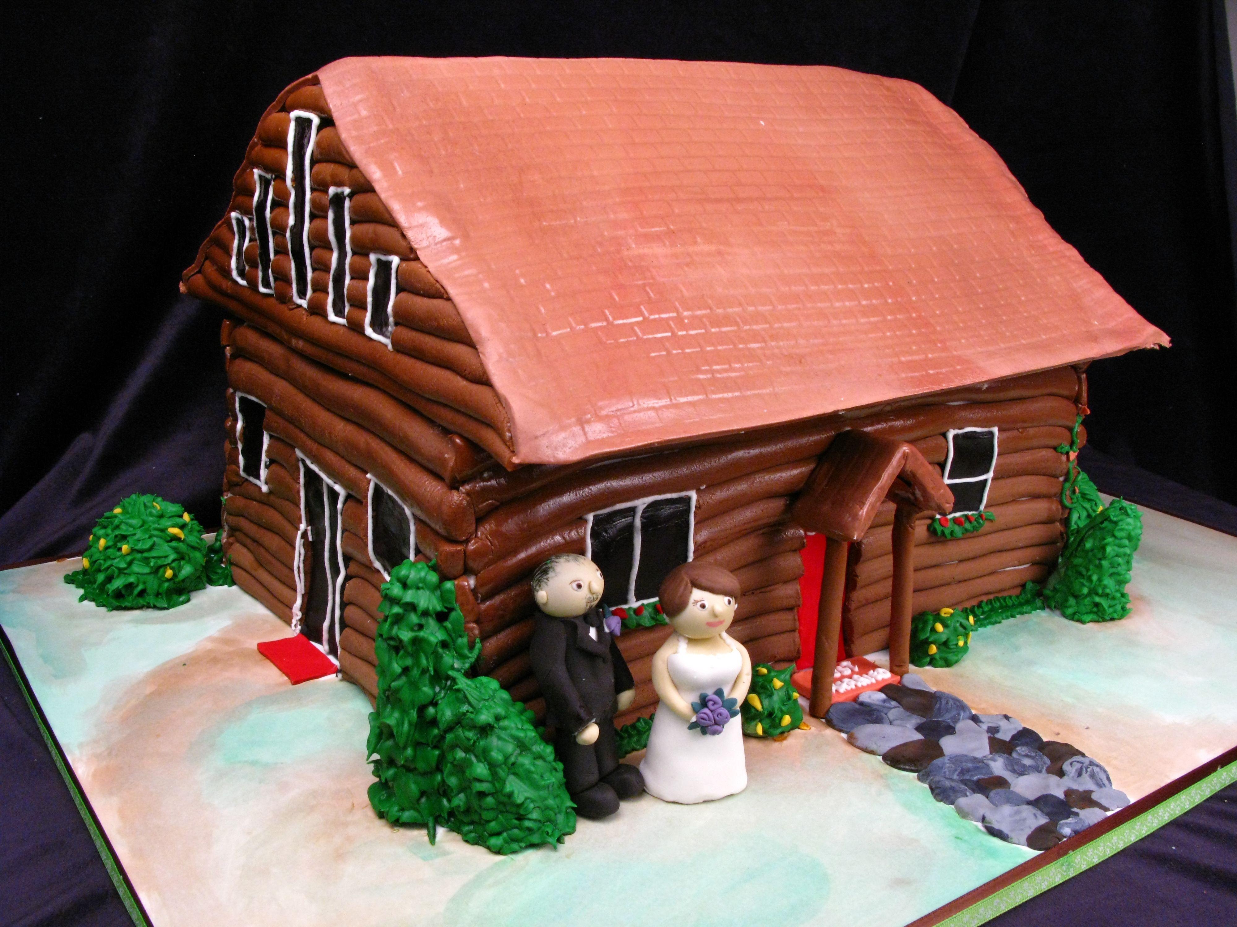 Log Cabin Wedding Cake Custom Cake Brown Wood Bride And Groom